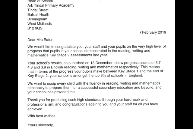 Letter from Department for Education