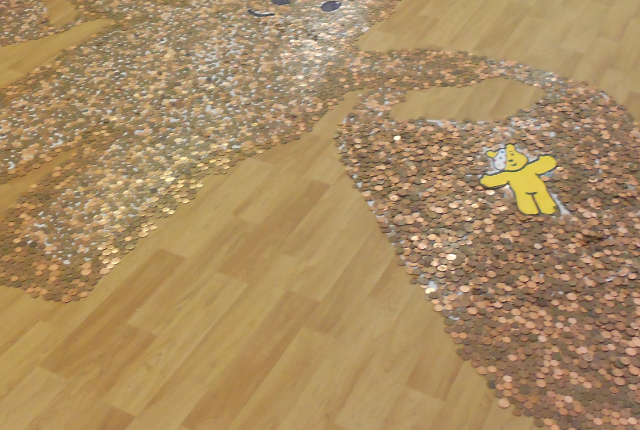 Picture of Pudsey Bear made from pennies