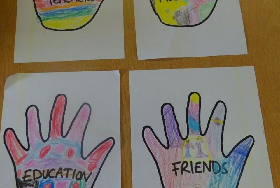 Pictures of hands decroated by Art Club