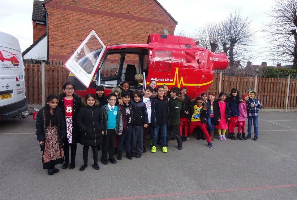 Picture of pupils with the Air Ambulance POD