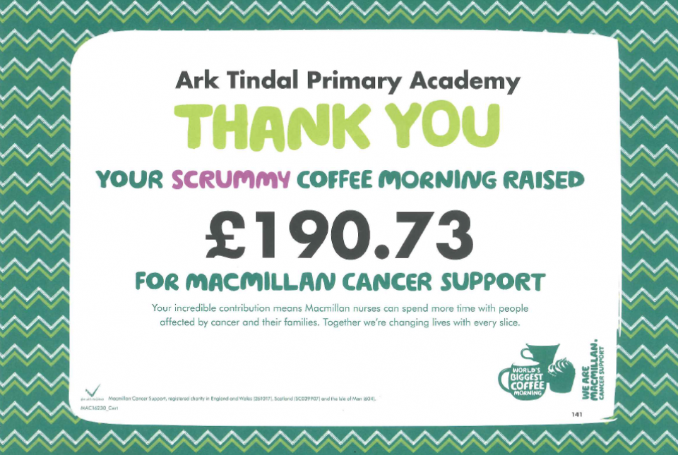 Macmillan Coffee Morning certificate of thanks