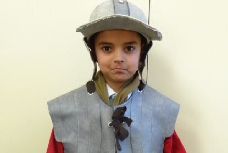 Picture of child dressed as a Roman soldier