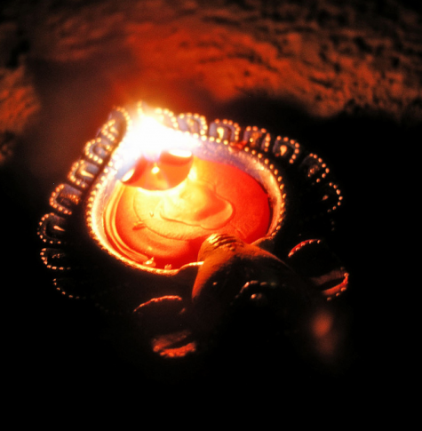 Photograph of a Diwali lamp