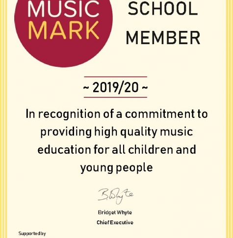 Music Mark school member certificate