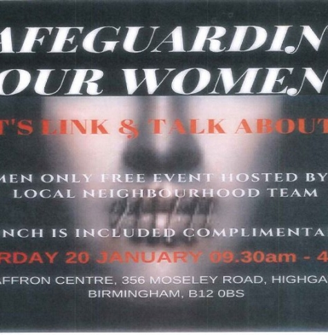 Poster for Safeguarding Women Community event